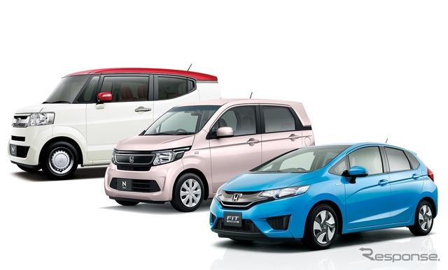 1月の新車販売トップ10に入ったホンダ車。左からN-BOX(スラッシュ)、N-WGN、フィット