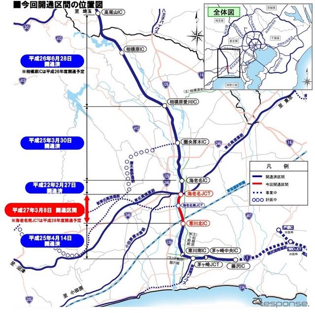 圏央道の開通区間(NEXCO中日本発表資料より)