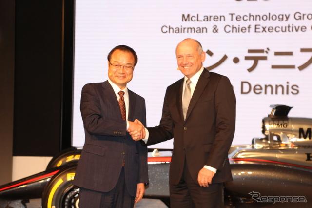 マクラーレン・テクノロジー・グループのロン・デニスCEO(右)とホンダの伊東孝紳社長《撮影 橋本隆志》