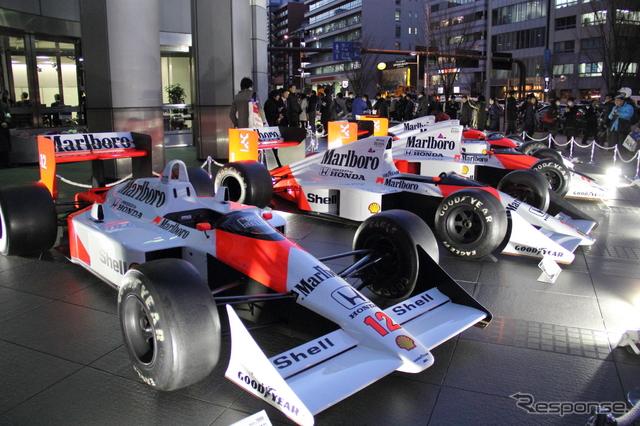 ホンダF1参戦記者会見が行なわれた青山本社に8台のF1マシンが集結《撮影 吉田知弘》