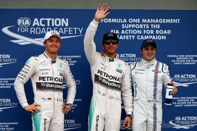 F1オーストラリアGPで予選トップを分け合ったハミルトン(中央)、ロズベルグ(左)、マッサ(右)《画像 Getty Images》