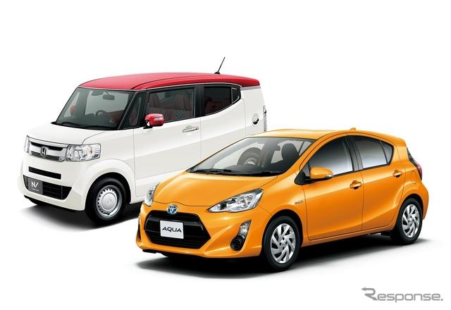 2月販売トップだったトヨタアクアと2位のホンダN-BOX(写真はスラッシュ)