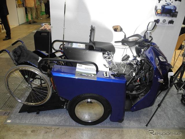 片山技研が開発した車いすでも乗車可能なバイク「COALA」《撮影 山田清志》