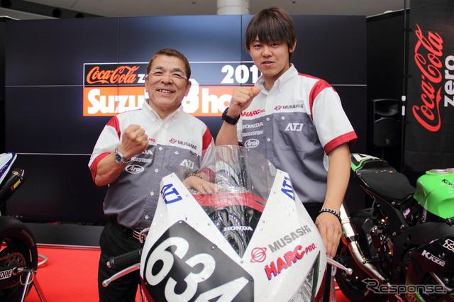 3連覇を目指すMuSASHi RT HARC-PROの本田重樹監督と高橋巧《撮影 吉田知弘》