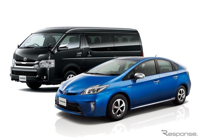 盗難車ワースト1位のプリウス(右)と2位のハイエース(左)