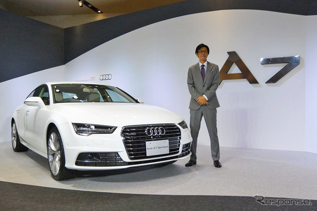 アウディ A7スポーツバック新型と、アウディジャパン 大喜多寛 社長《撮影 小松哲也》