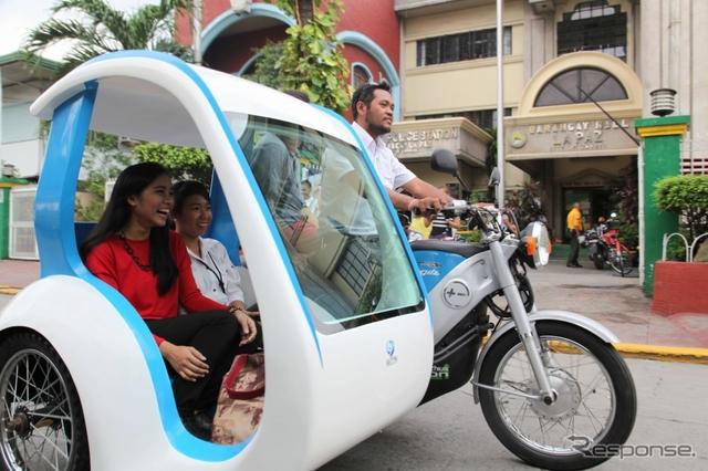 フィリピンでの電動三輪タクシー利用イメージ