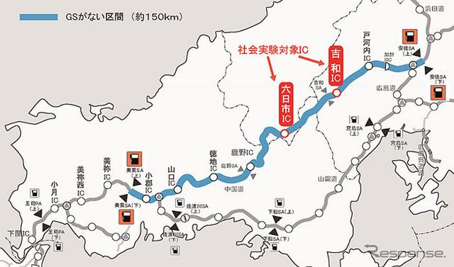 中国道 GSがない区間