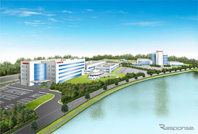 (左手前)日本自動車部品総合研究所、(右奥)デンソー基礎研究所