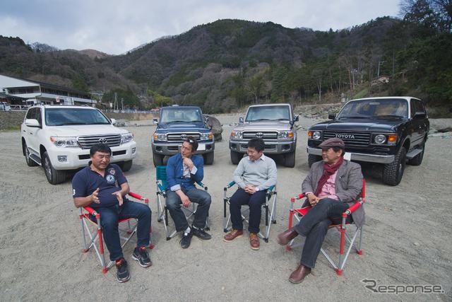 新旧ランドクルーザーオーナー4人に、「ランクルの魅力」を熱く語ってもらった。左から牟田さん(ランクル200)、小久保さん(ランクル70)、長嶋さん(ランクル70)、西久保さん(ランクル60)。《撮影 太宰吉崇》