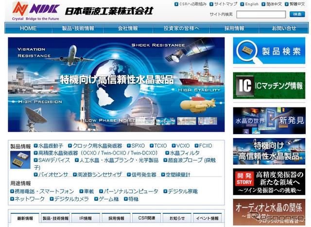 日本電波工業(Webサイト)