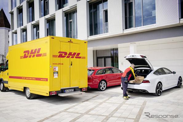 DHLがアマゾンの商品をアウディ車のトランクに配達するアウディ・コネクト・イージー・デリバリー