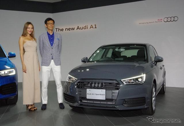 アウディ A1 改良新型。道端ジェシカさんと、アウディジャパン大喜多寛社長と《撮影 宮崎壮人》