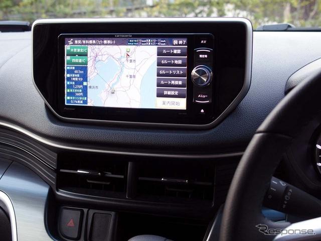 新型『楽ナビ』のトップモデル「AVIC-RW09」。トヨタ/ダイハツ車用の幅200mmサイズを採用する