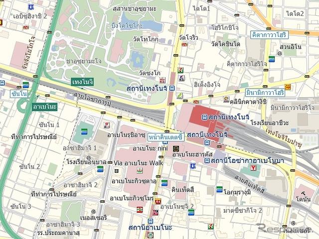 タイ語表記地図サンプル