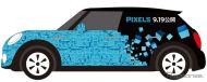 「パックマン×ピクセル」のラッピングカーMINI
