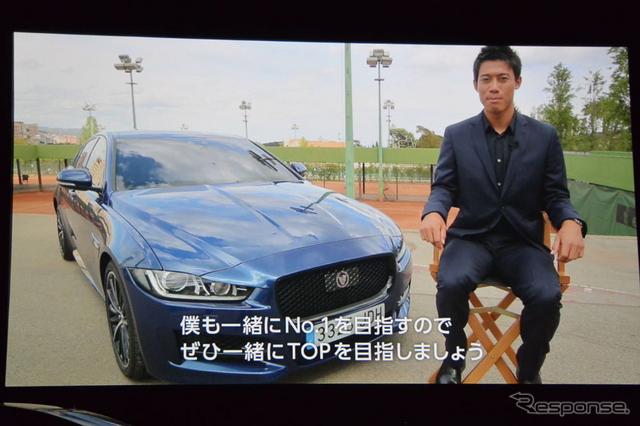 アンバサダーである錦織圭選手からのビデオメッセージ(ジャガー XE 発表会)《撮影 小松哲也》
