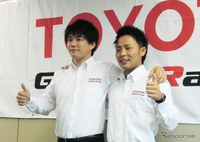 トヨタの若手ラリー選手育成プログラムに選抜された、新井大輝(左)と勝田貴元。
