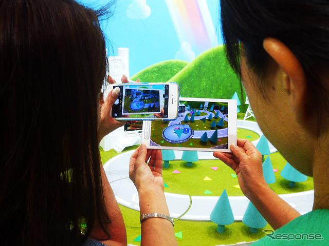トヨタは拡張現実(AR)の世界でクルマの楽しさを紹介した(東京おもちゃショー2015)《撮影 大野雅人(Gazin Airlines)》