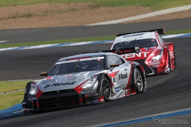 #46 GT-Rは、レース前半の#38 RC Fとの接戦を経ての勝利。撮影:益田和久