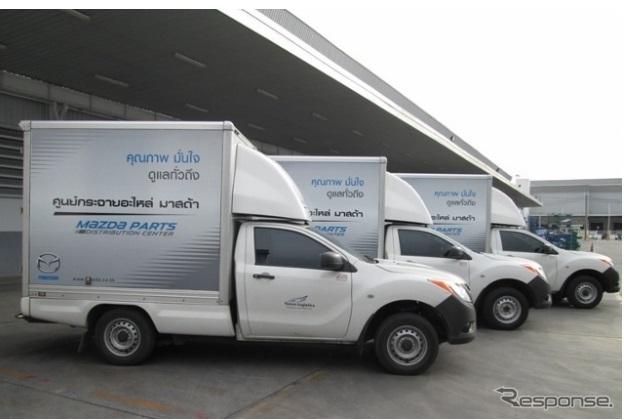 専用トラックでマツダの補修部品を輸送