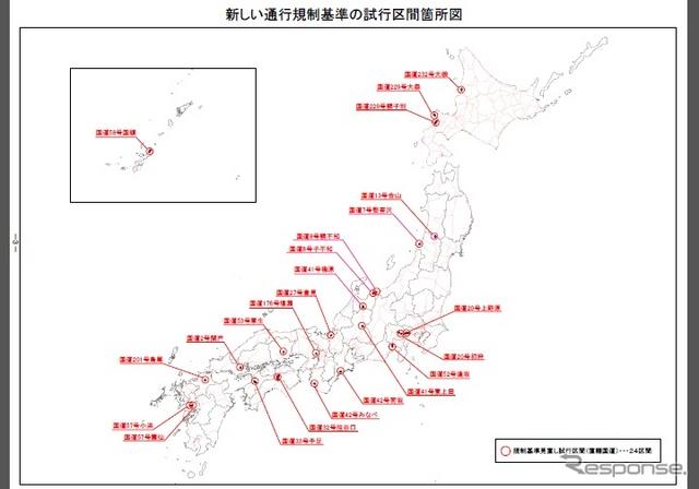 新しい通行規制基準の試行区間箇所図