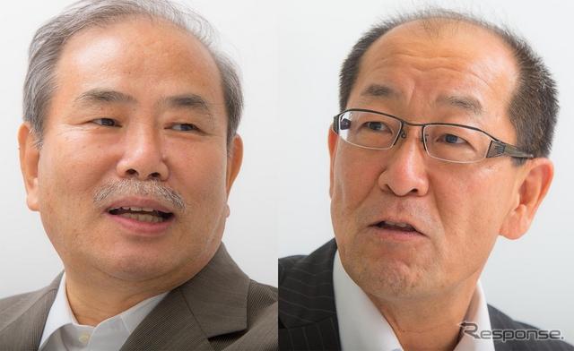 自動車評論家の松下宏氏(左)とトヨタ田中義和主査(右)