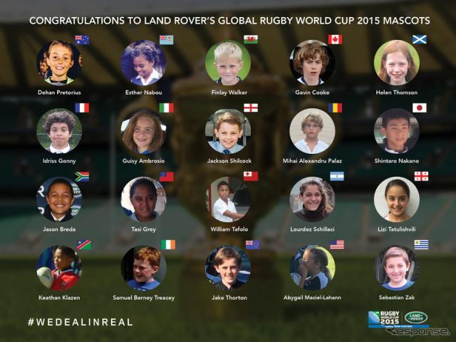 ランドローバーが選出した、ラグビーワールドカップの「グローバルマスコットキッズ」《画像提供 ランドローバー》