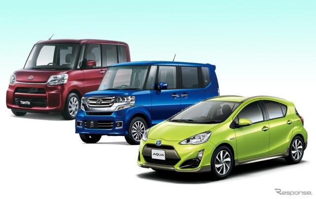 新車販売総合ランキングトップ3の、アクア、N-BOX、タント