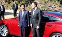 安倍首相とテスラモーターズのイーロン・マスクCEO(今年4月)《写真 テスラモーターズ》