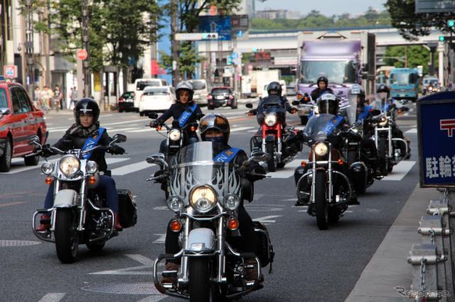 女性ハーレーライダーたちが銀座を交通安全パレード《画像 ハーレーダビッドソンジャパン》