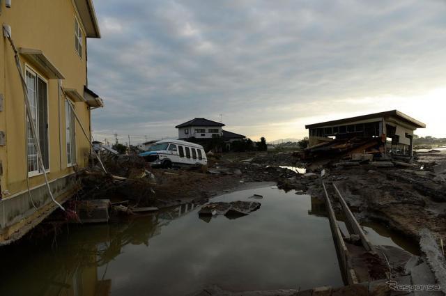 台風第18号関連の大雨で被害を受けた地域《写真 Getty Images》