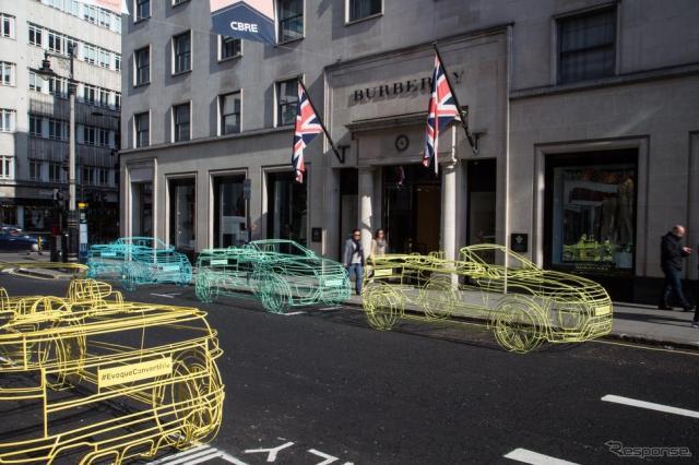 英国ロンドン市内に出現したレンジローバー イヴォーク コンバーチブルの実物大オブジェ