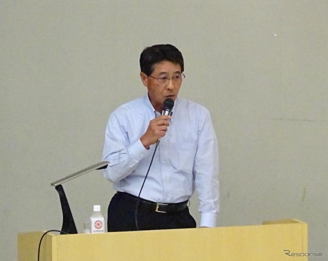 中央大学後楽園キャンパスで出張授業を行った、マツダの小飼雅道社長