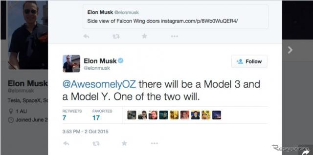 「モデルY」の車名をツイートしたテスラのイーロン・マスクCEOの公式Twitter