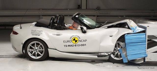 新型マツダロードスターのユーロNCAPの衝突テスト