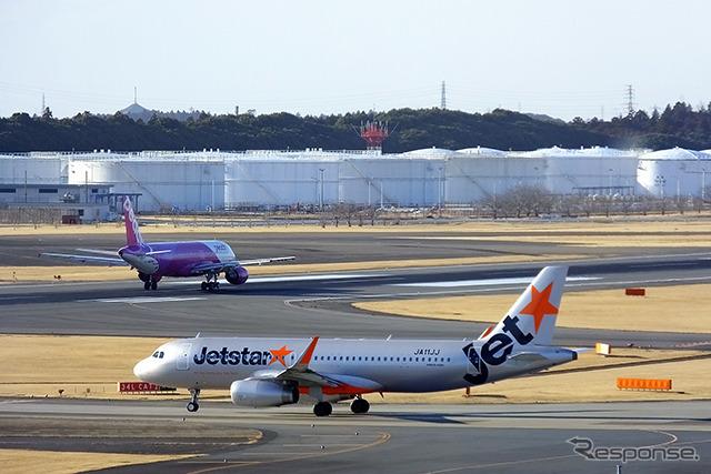 成田空港を離陸するLCCのA320たち《撮影 大野雅人(Gazin Airlines)》