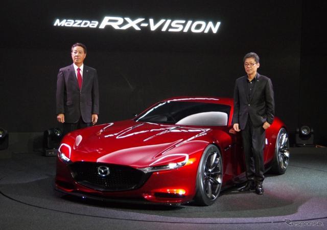 東京モーターショー2015、トップバッターとなったマツダは、スポーツカー『RX-VISION コンセプト』を発表《撮影 宮崎壮人》