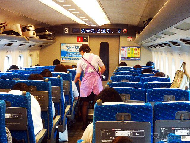 東海道新幹線車内《撮影 大野雅人(Gazin Airlines)》