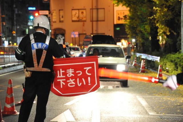 全国一斉に合わせて、警視庁が行った飲酒運転取締り(4日・千代田区)《撮影 中島みなみ》