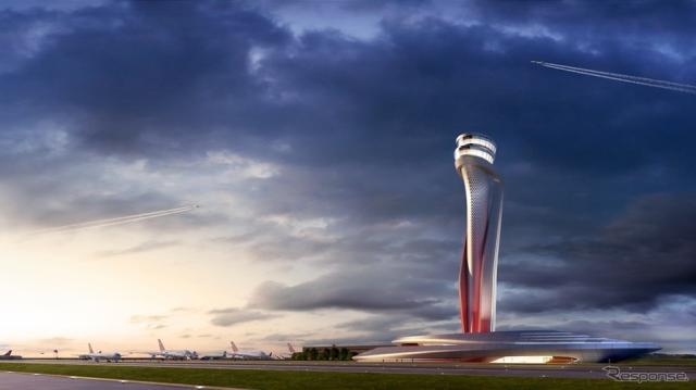 トルコ・イスタンブールの新空港管制塔における建築コンペで選ばれた、アメリカの本拠とする国際エンジニアリング会社のAECOMとイタリアのピニンファリーナによる共同提案。