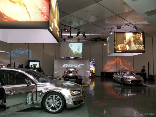 ボーズが車載オーディオの新たなプロダクトラインを紹介する場として用意した会場はスタジオ風《撮影 会田肇》