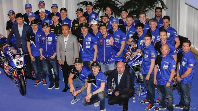 スペインのバルセロナにて、2016 シーズンの開幕を待ちわびる世界中のファンに向け、チーム体制を発表したMovistar Yamaha MotoGP。画像 YAMAHA MOTOR EUROPE