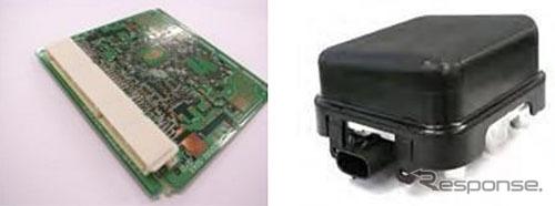 PCBコネクタ(左)とミリ波レーダー