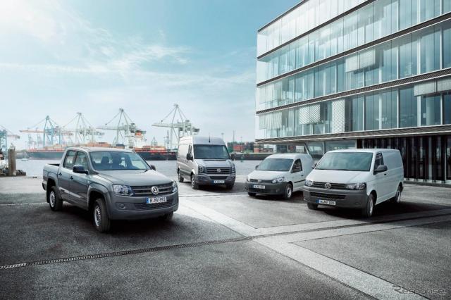 フォルクスワーゲンのLCV(軽商用車)。左からアマロック、クラフター、キャディ、T5