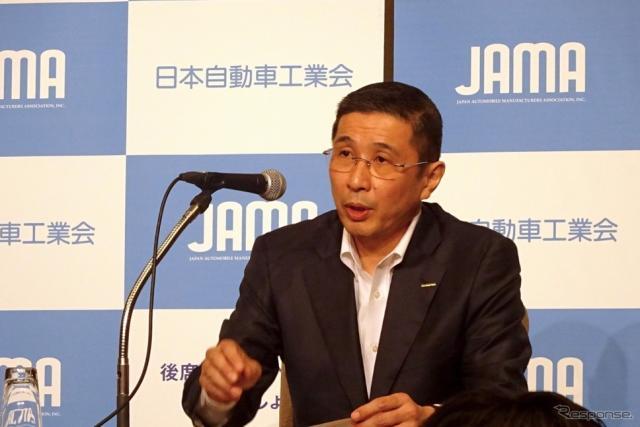 日本自動車工業会の西川廣人会長《撮影 池原照雄》