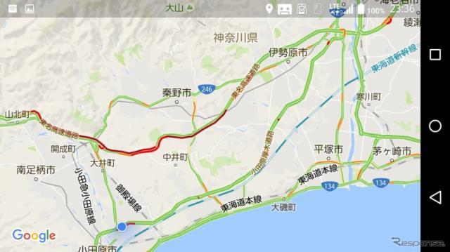 9月26日、東名集中工事による渋滞と小田原厚木道路迂回のようす《撮影 大野雅人(Gazin Airlines)》