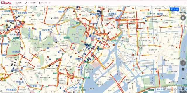 VICS渋滞情報の表示例