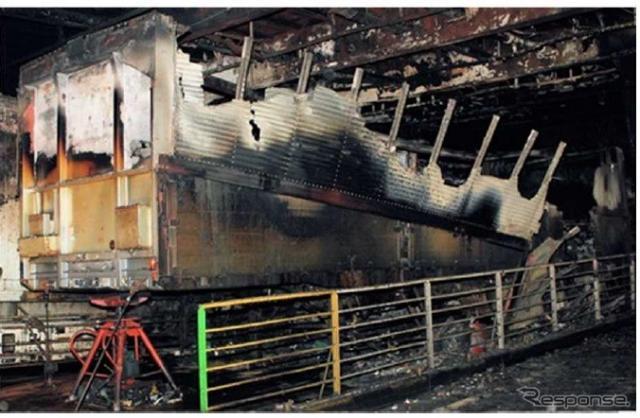 「さんふらわあ だいせつ」の火災事故で焼失したトラック《画像提供 国土交通省》