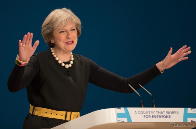 英保守党党大会に登壇したメイ首相(10月2日、バーミンガム) (c) Getty Images